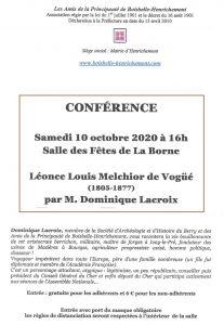 """Conférence """"Melchior de Voguë"""" @ Salle des fêtes de La Borne"""